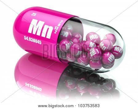 Pills with manganese Mn element Dietary supplements. Vitamin capsules. 3d