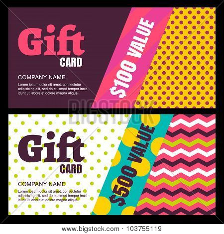 Vector Design Template Of Gift Card Or Voucher. Color Blocks Background, Geometric Pattern.