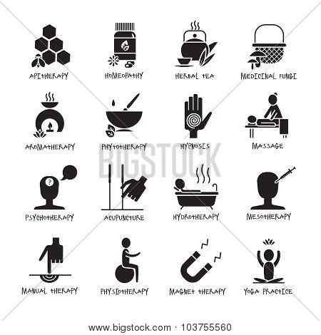 Alternative Medicine Black Icons Set