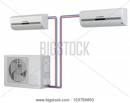 Modern Air Conditioner System. Installation Of Equipment