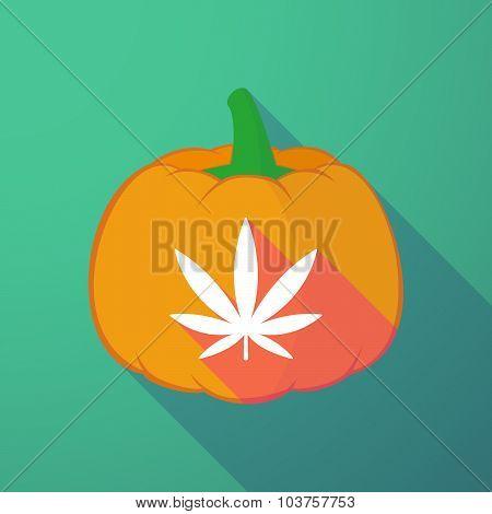 Long Shadow Halloween Pumpkin With A Marijuana Leaf