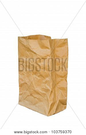 Rumpled Brown Paper Bag Opened, Isolated On A White Background.
