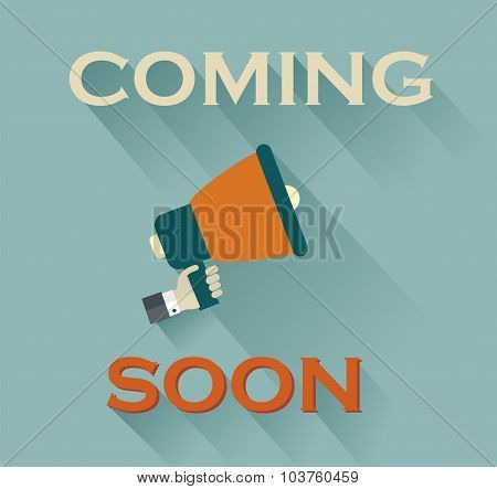 Coming Soon Sign On Teal Background