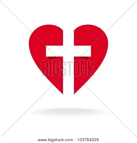 Heart With Cross Church Logo Template