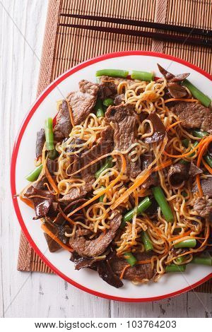 Lo Mein With Beef, Muer And Vegetables Closeup. Vertical Top View