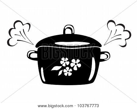 Casserole With Steam. Vector Black And White Image.
