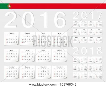 Set Of Portuguese 2016, 2017, 2018 Vector Calendars