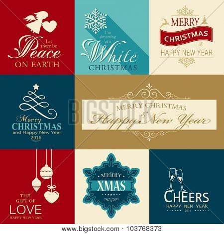 Set of various Christmas and Happy New Year banners with festive designs of Christmas balls, Christmas tree, snowflake, angel and heart designs.