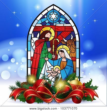 Stained glass window depicting Christmas scene against a luminescent blue background with decorations. Christmas greeting card. Vector illustration