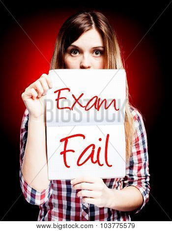 Failed Test Or Exam And Surprised Girl