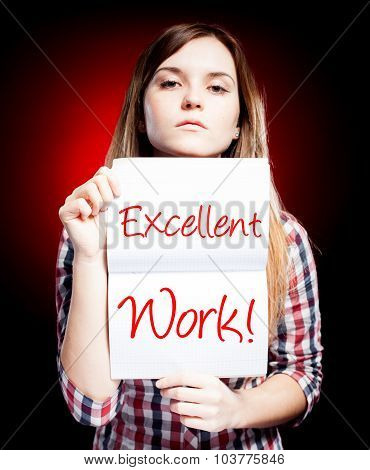 Excellent Work, Exam And Proud Woman