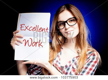 Excellent Work, Exam And Happy Proud Woman