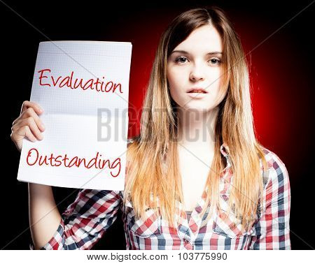Evaluation Outstanding, Exam And Proud Woman