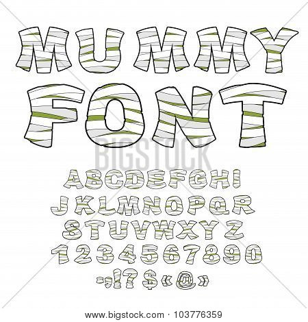 Mummy Font. Alphabet In Bandages. Monster Zombie Letters Of  Latin Alphabet. Learned Embalming Lette