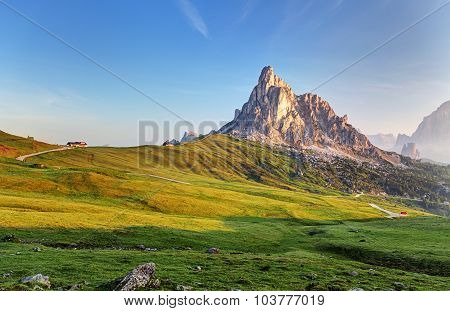 Landscape Nature Mountan In Alps, Dolomites, Giau
