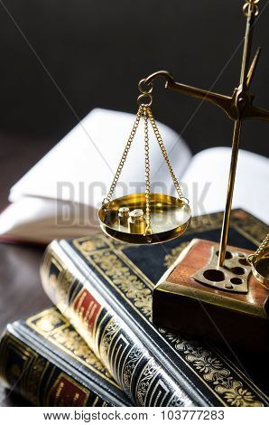 Weight Scale And Books. Scales Of Justice Composition