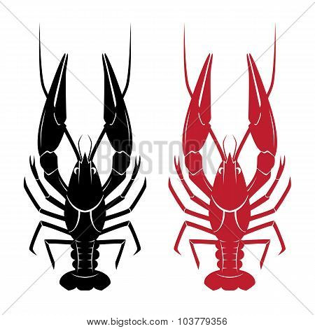 Illustration of vector crawfish isolated on white background poster
