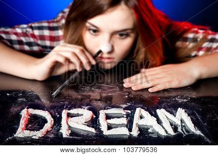 Woman Snorting Cocaine Or Amphetamines, Coke Dream