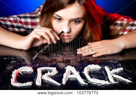 Woman Snorting Cocaine Or Amphetamines, Crack Addiction