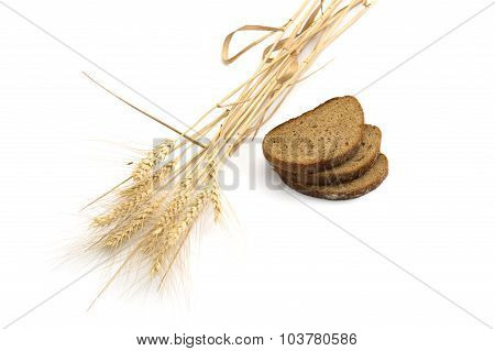 Still Life Three Pieces Of Bread And Linking Of Ears Of Wheat, Isolate