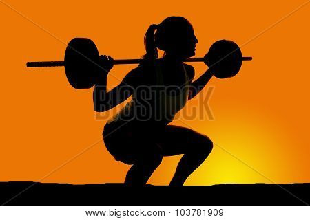Silhouete Of Woman Deep Squat