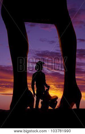 Silhouette Of Womans Legs Side In Heels