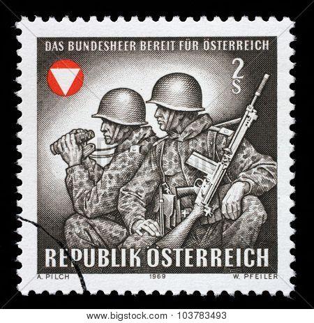 AUSTRIA - CIRCA 1969: stamp printed by Austria, shows Frontier guards, circa 1969