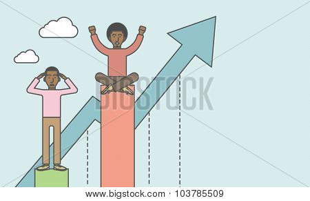 Happy businessman sits on top bar while upset businessman stands in bottom. Rivalry concept. Vector line design illustration. Horizontal layout with a text space.