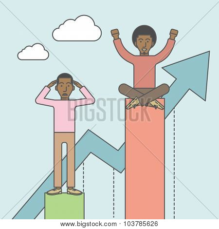 Happy businessman sits on top bar while upset businessman stands in bottom. Rivalry concept. Vector line design illustration. Square layout.