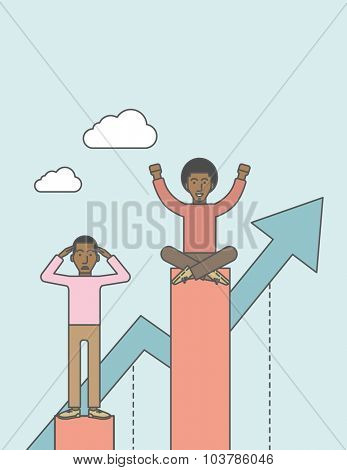 Happy businessman sits on top bar while upset businessman stands in bottom. Rivalry concept. Vector line design illustration. Vertical layout with a text space.