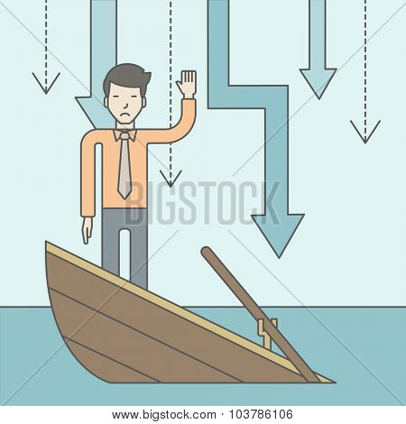 A scared asian businessman standing on a sinking boat asking for help with arrows pointing down behind his back. Bankruptcy concept. Vector line design illustration. Square layout.
