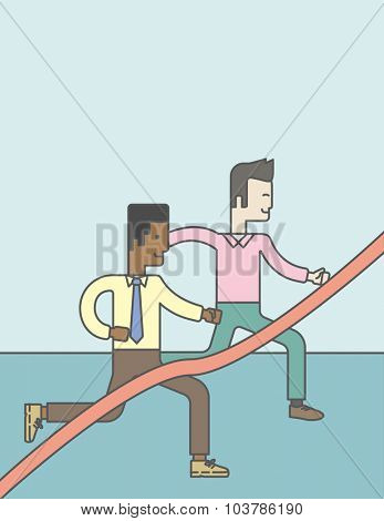 Two happy businessmen running through finishing line.  Rivalry concept. Vector line design illustration. Vertical layout with a text space.