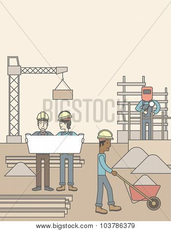 Two men considering building project while other builders work at the building site. Vector line design illustration. Vertical layout with a text space.