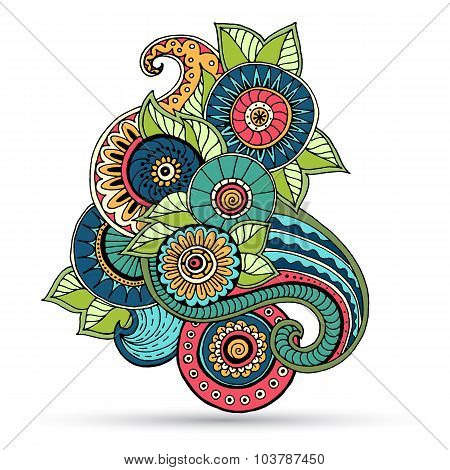 Floral zentangle, doodle henna paisley mehndi design element.