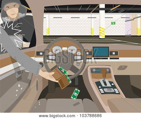 Thief steals underground parking purse out of the car without the alarm. Vector illustration