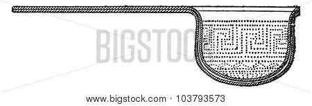 Strainer for wine mixes with the snow, vintage engraved illustration.