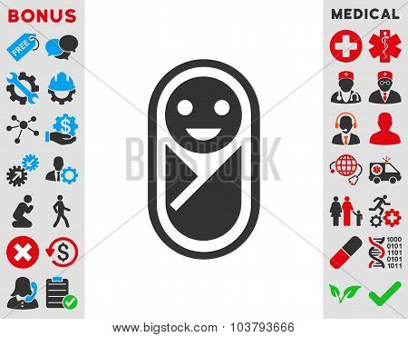 Infant vector icon. Style is bicolor flat symbol, blue and gray colors, rounded angles, white background. poster