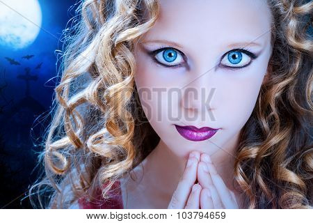 Girl With Ice Blue Eyes At Halloween.