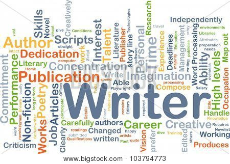 Background concept wordcloud illustration of writer