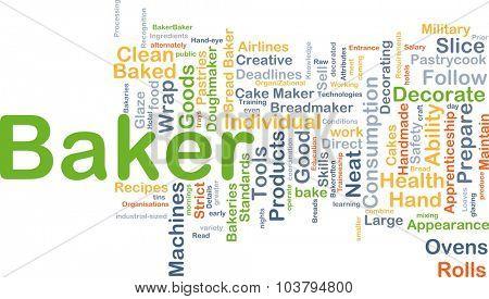 Background concept wordcloud illustration of baker