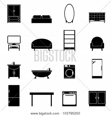 Furniture isolated icons set. Modern black furniture for apartment on white background.