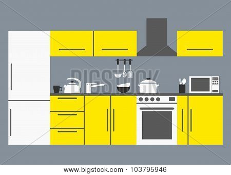 Big kitchen. Modern kitchen interior with kitchen appliances, tables, refrigerator and dishware.
