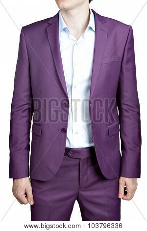 Purple Mens Wedding Costume, Blazer And Trousers, Isolated On White.