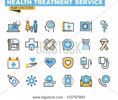 Flat line icons set of health treatment service