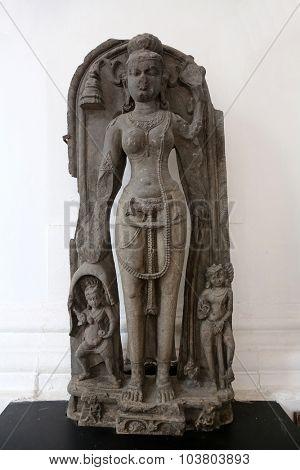 KOLKATA, INDIA - FEBRUARY 15: Tara, from 11th century found in Basalt Kurkihar, Bihar now exposed in the Indian Museum in Kolkata, on February 15, 2014