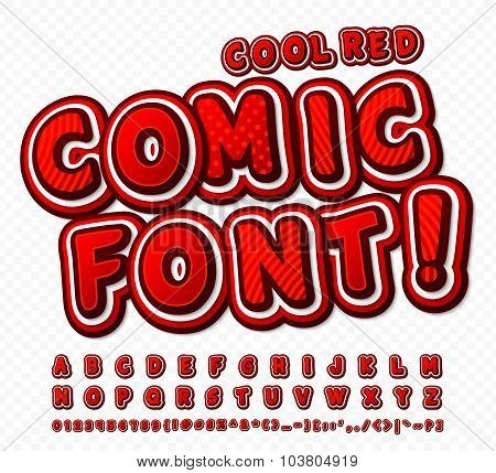Red-white High Detail Comic Font, Alphabet. Comics, Pop Art