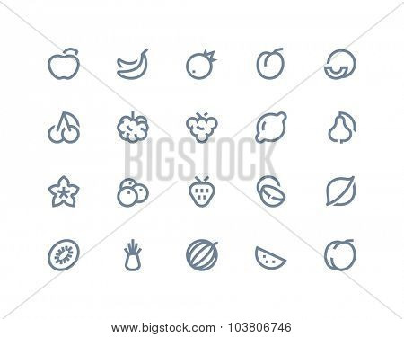 Fruits icons. Line series