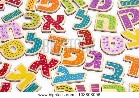 Photo of Hebrew alphabet letters and characters background
