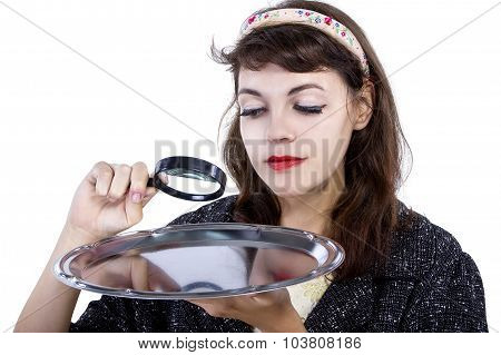 Woman Searching With Magnifying Glass