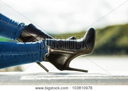Woman Legs In Denim Pants Heels Shoes Outdoor